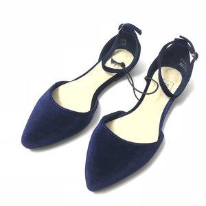 Gap dorsay flats blue velvet ankle strap 7 NEW